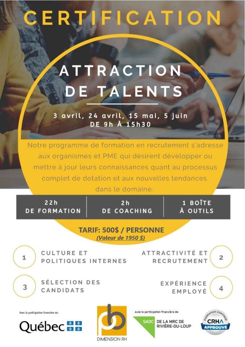 Affiche certification Attraction de talents (Auteur : SADC)